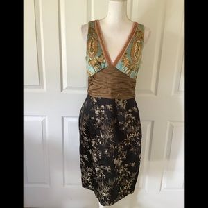 Phoebe couture multi fabric silk dress Sz 6